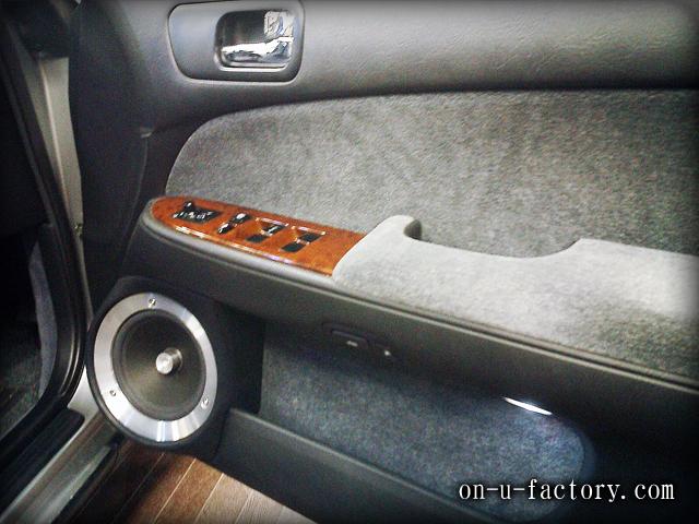 グロリア ドアスピーカーインストール:6inchミッドバススピーカーバッフル製作(角度付き・こっち向きスピーカー) アルミリング製作
