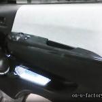 ハイエース ドアスピーカーインストール:7inchミッドバススピーカーバッフル製作(角度付き・こっち向きスピーカー) ドアトリム加工 塗装仕上げ LED電飾 <京都カスタムオーディオ オンユーファクトリー>
