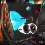 JUKE ドアスピーカーインストール:6inchミッドバススピーカーバッフル製作(ダブル付け角度付き・こっち向きスピーカー) ドアトリム加工 アルミリング製作 塗装仕上げ <京都カスタムカーオーディオ オンユーファクトリー>