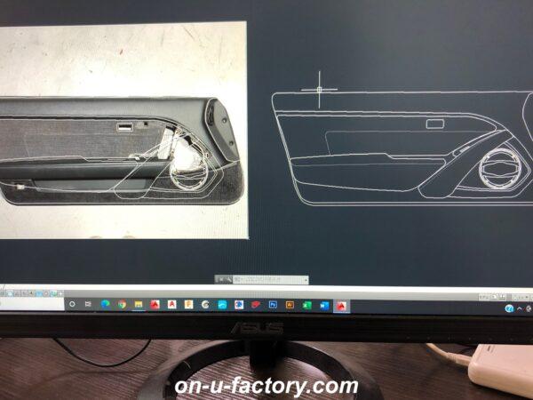 onUfactory オンユーファクトリー カーオーディオカスタム ドアパネルカスタム CAD図面デザイン設計 CNCルーター 切り出し