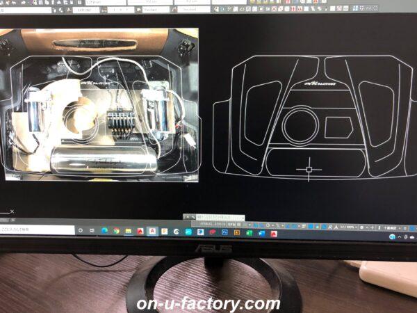 onUfactory オンユーファクトリー カーオーディオカスタム トランクオーディオ製作 ウーファーボックス エアサスコンプレッサー消音ケース CAD図面デザイン設計 CNCルーター 切り出し